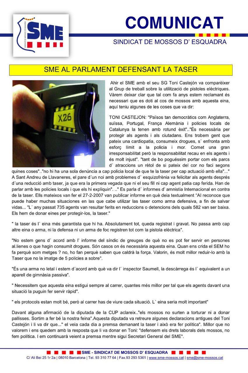 Comunicado SME Parlament Taser
